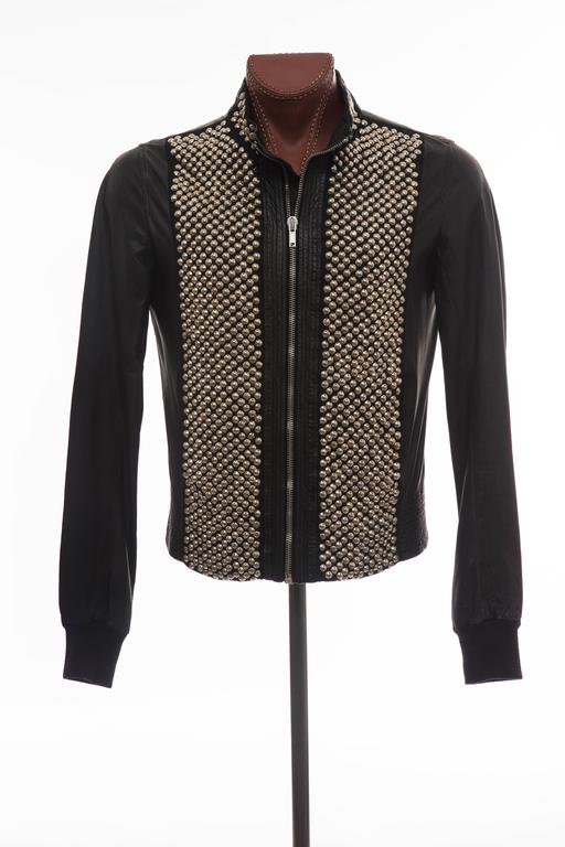 Rick Owens Men's Black Leather Silver Studded Zip Front Bomber Jacket 3