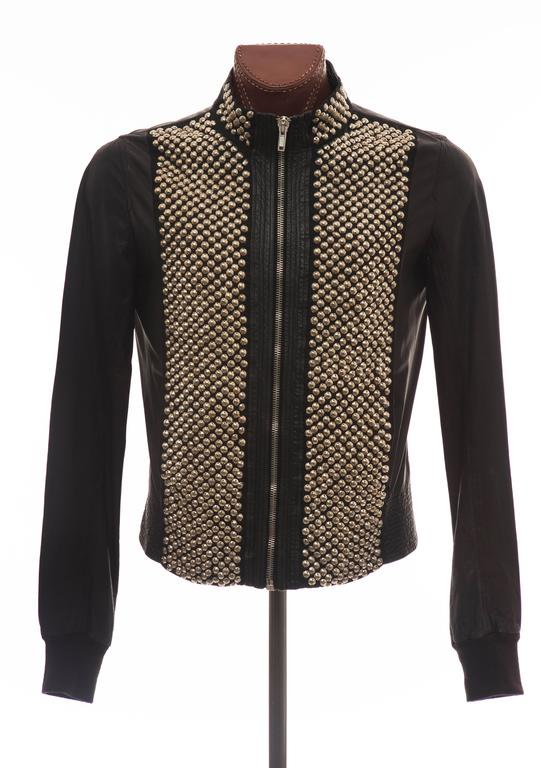Rick Owens Men's Black Leather Silver Studded Zip Front Bomber Jacket 2