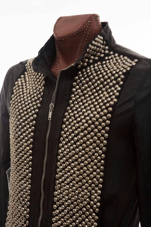 Rick Owens Men's Black Leather Silver Studded Zip Front Bomber Jacket 9