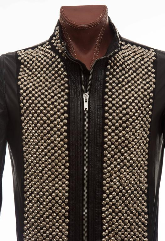 Rick Owens Men's Black Leather Silver Studded Zip Front Bomber Jacket 6