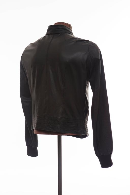 Rick Owens Men's Black Leather Silver Studded Zip Front Bomber Jacket 8