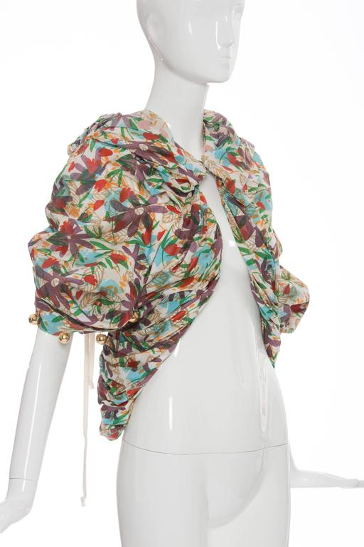 Women's Tao Comme des Garcons Floral Cotton Pleated Jacket, Spring -Summer 2009 For Sale