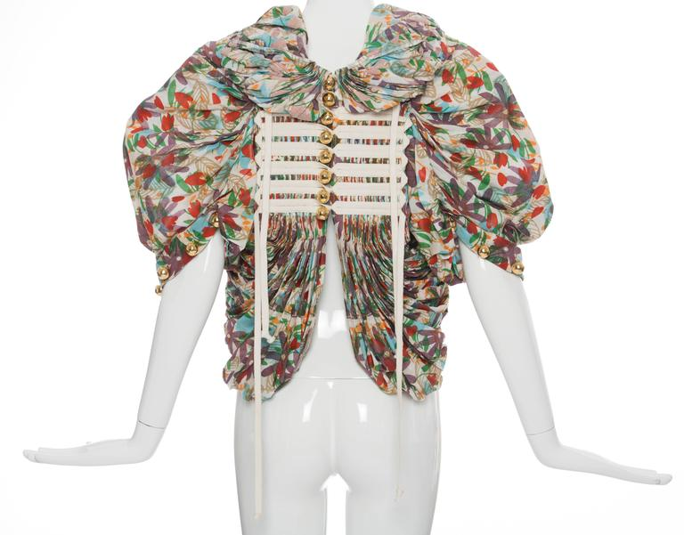 Tao Comme des Garcons Floral Cotton Pleated Jacket, Spring -Summer 2009 For Sale 2