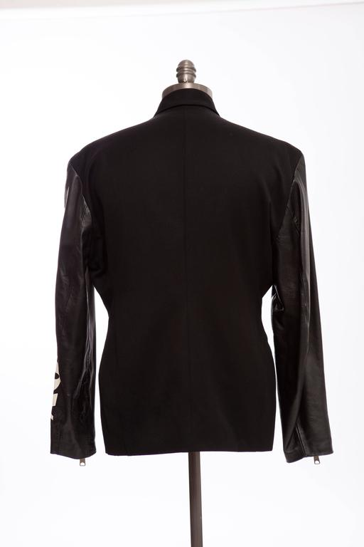 Men's John Richmond Black Double Breasted Wool Leather Destroy Jacket, Circa 1980s For Sale