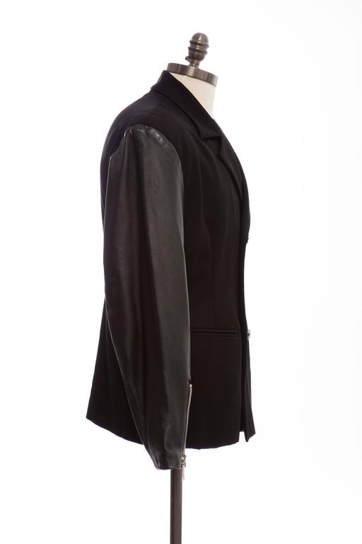 John Richmond Black Double Breasted Wool Leather Destroy Jacket, Circa 1980s For Sale 1