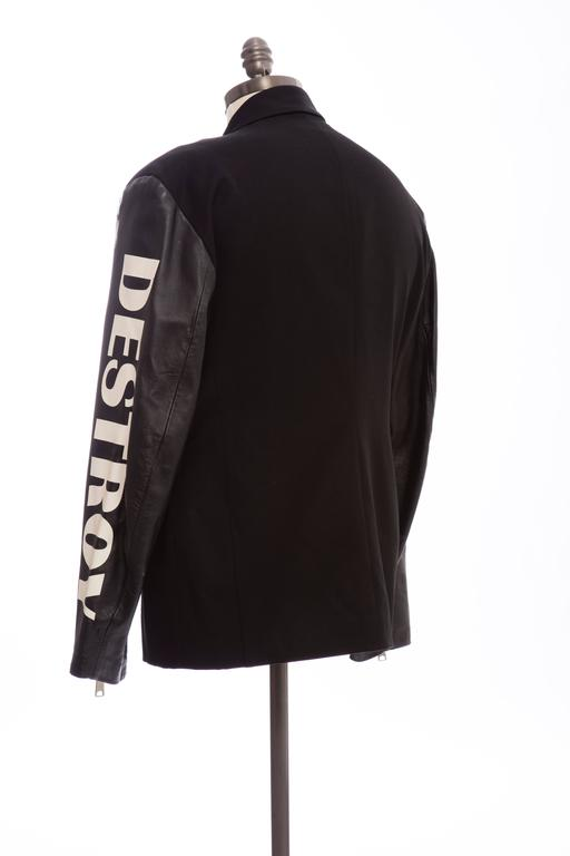 John Richmond Black Double Breasted Wool Leather Destroy Jacket, Circa 1980s For Sale 3
