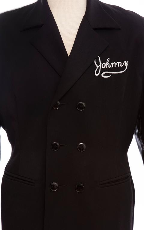 John Richmond Black Double Breasted Wool Leather Destroy Jacket, Circa 1980s For Sale 2