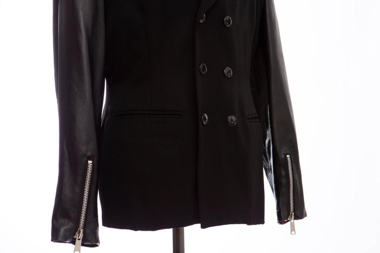 John Richmond Black Double Breasted Wool Leather Destroy Jacket, Circa 1980s For Sale 4
