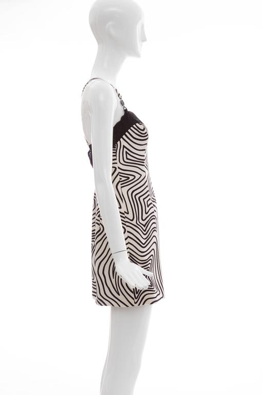 Versace Couture Graphic Print Black White Silk Lace Slip Dress, Circa 1990's 2