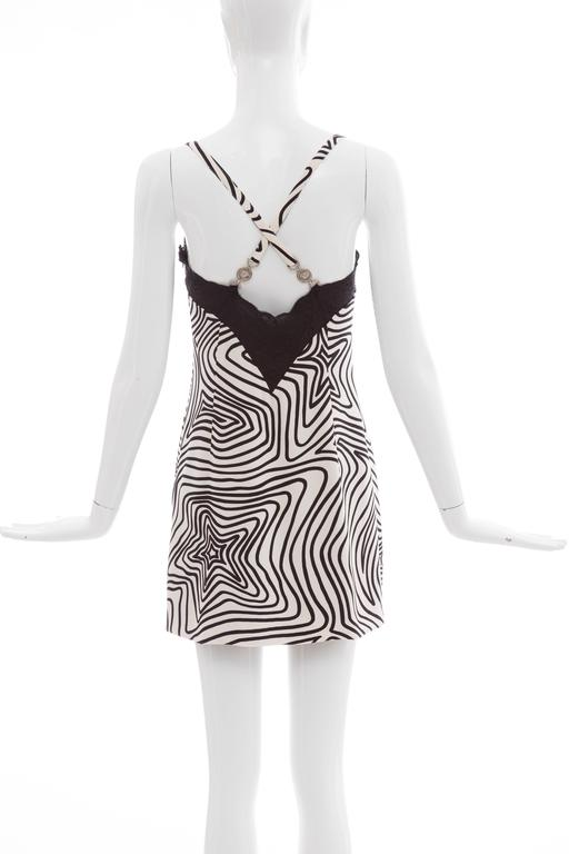 Versace Couture Graphic Print Black White Silk Lace Slip Dress, Circa 1990's 3