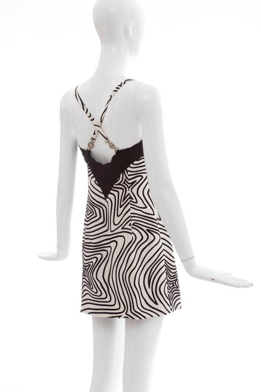 Versace Couture Graphic Print Black White Silk Lace Slip Dress, Circa 1990's 6