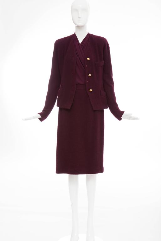 Donna Karan Eggplant Stretch Wool Nylon Knit Skirt Suit, Circa 1980's 2