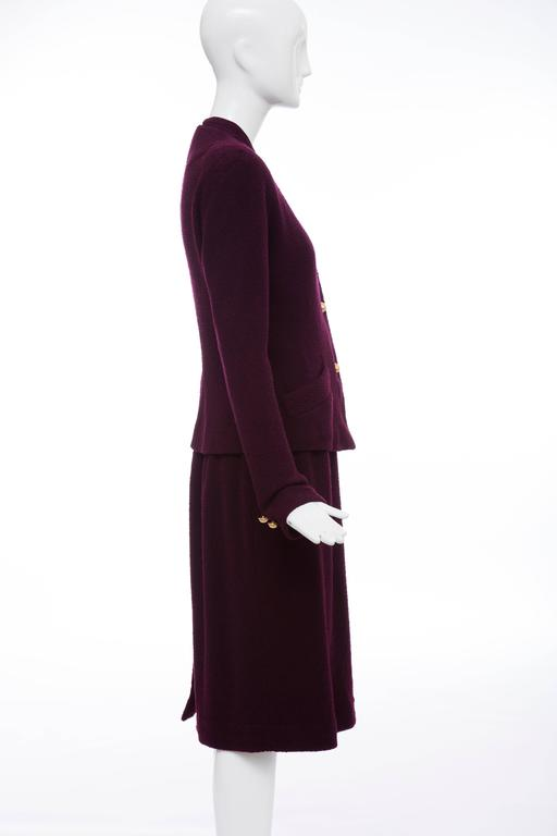 Donna Karan Eggplant Stretch Wool Nylon Knit Skirt Suit, Circa 1980's 3