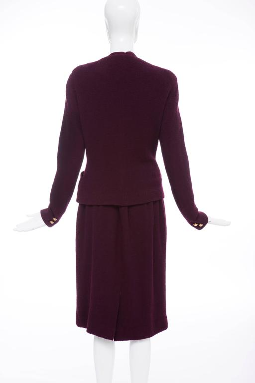 Donna Karan Eggplant Stretch Wool Nylon Knit Skirt Suit, Circa 1980's 4