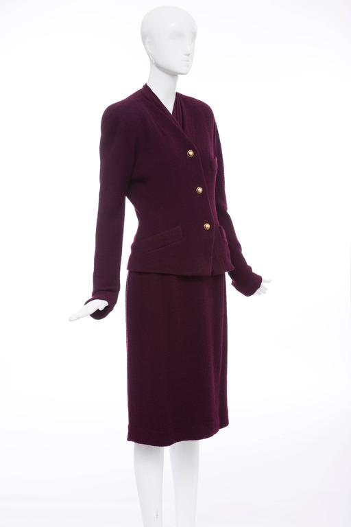 Donna Karan Eggplant Stretch Wool Nylon Knit Skirt Suit, Circa 1980's 5