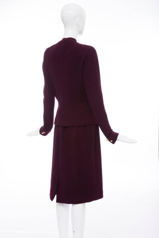Donna Karan Eggplant Stretch Wool Nylon Knit Skirt Suit, Circa 1980's 7