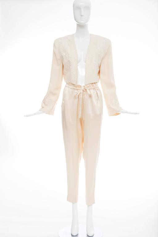 Donna Karan Cream Silk Embroidered Pant Suit, Circa 1980's 2