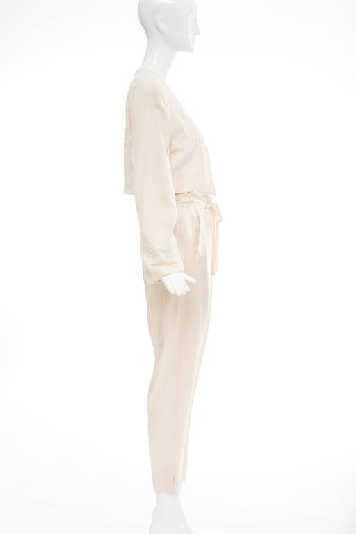 Donna Karan Cream Silk Embroidered Pant Suit, Circa 1980's 3