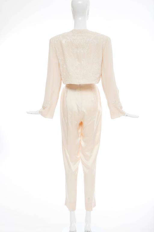 Donna Karan Cream Silk Embroidered Pant Suit, Circa 1980's 4