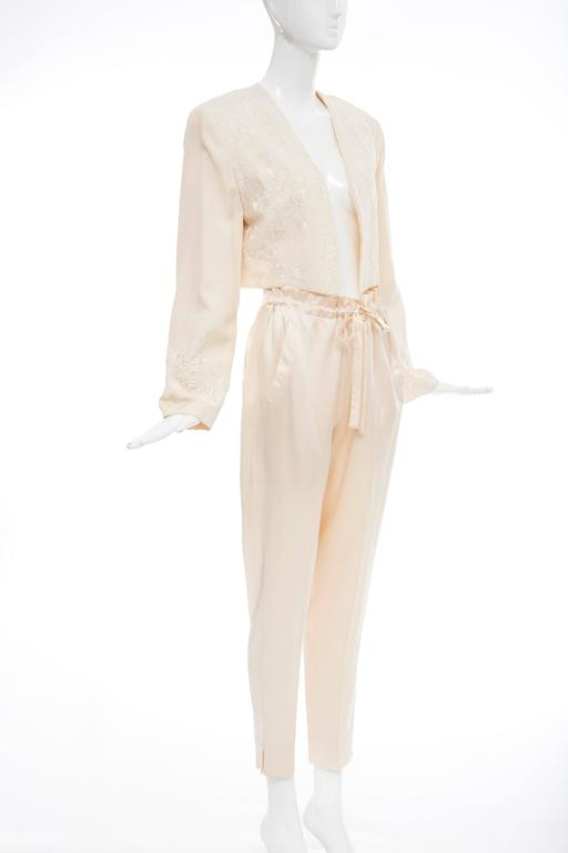 Donna Karan Cream Silk Embroidered Pant Suit, Circa 1980's 5