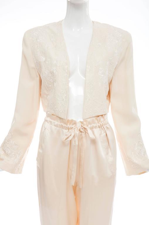 Donna Karan Cream Silk Embroidered Pant Suit, Circa 1980's 6
