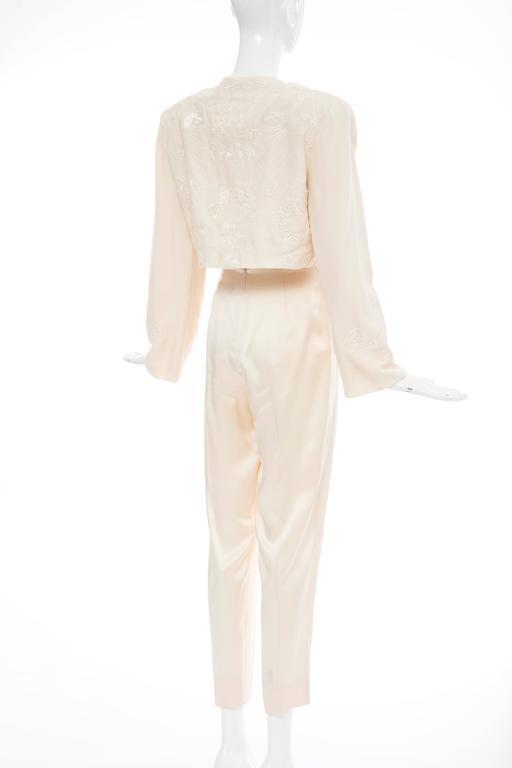 Donna Karan Cream Silk Embroidered Pant Suit, Circa 1980's 7
