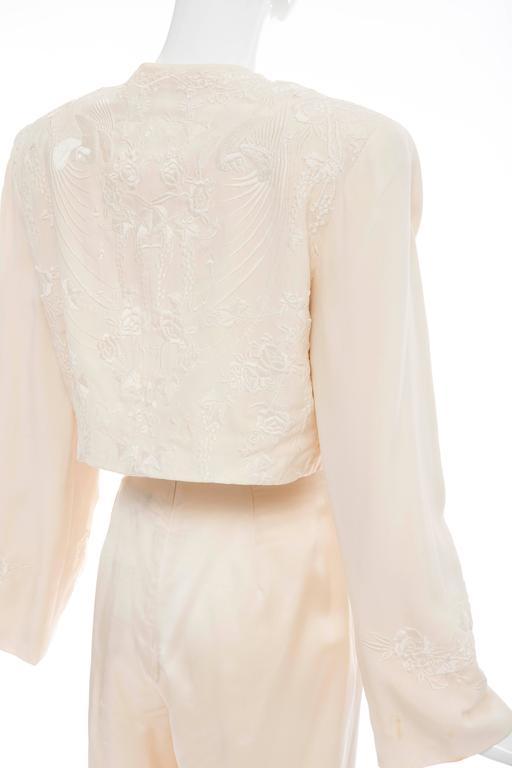 Donna Karan Cream Silk Embroidered Pant Suit, Circa 1980's 8