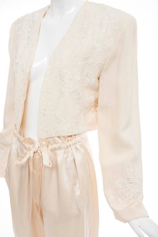 Donna Karan Cream Silk Embroidered Pant Suit, Circa 1980's 9