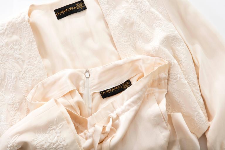 Donna Karan Cream Silk Embroidered Pant Suit, Circa 1980's 10