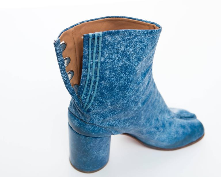 Maison Martin Margiela Blue Leather Tabi Boots At 1stdibs