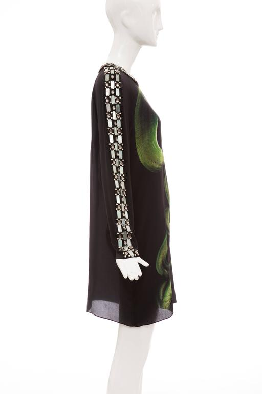 Alber Elbaz For Lanvin Black Silk Python Print Shift Dress, Spring 2012 In Excellent Condition For Sale In Cincinnati, OH