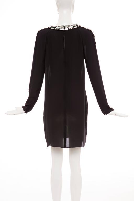 Women's Alber Elbaz For Lanvin Black Silk Python Print Shift Dress, Spring 2012 For Sale