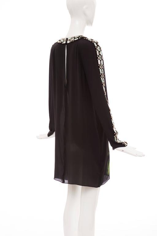 Alber Elbaz For Lanvin Black Silk Python Print Shift Dress, Spring 2012 For Sale 3