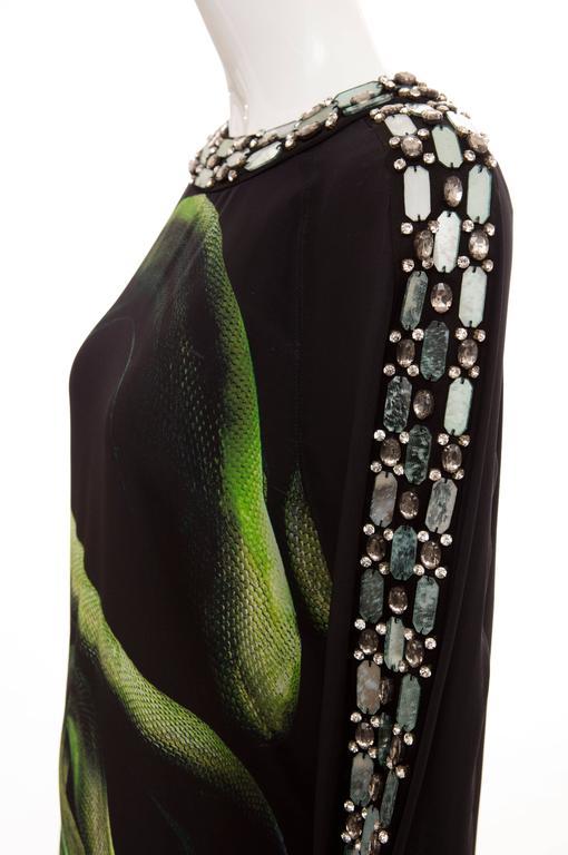 Alber Elbaz For Lanvin Black Silk Python Print Shift Dress, Spring 2012 For Sale 2