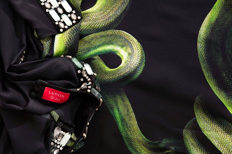 Alber Elbaz For Lanvin Black Silk Python Print Shift Dress, Spring 2012 For Sale 5