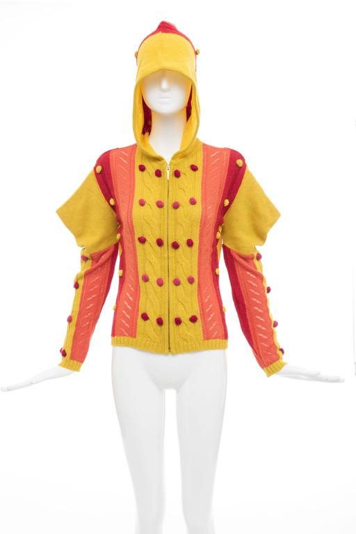 Orange John Galliano for Christian Dior Knit Zip Front Cardigan, Fall 2002 For Sale