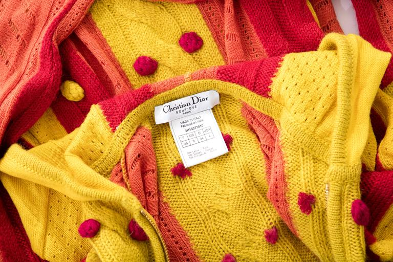John Galliano for Christian Dior Knit Zip Front Cardigan, Fall 2002 For Sale 5