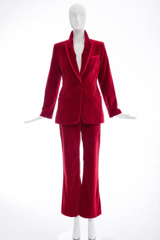 Gucci Tom Ford Red Cotton Velvet Pantsuit, Fall 1996 2