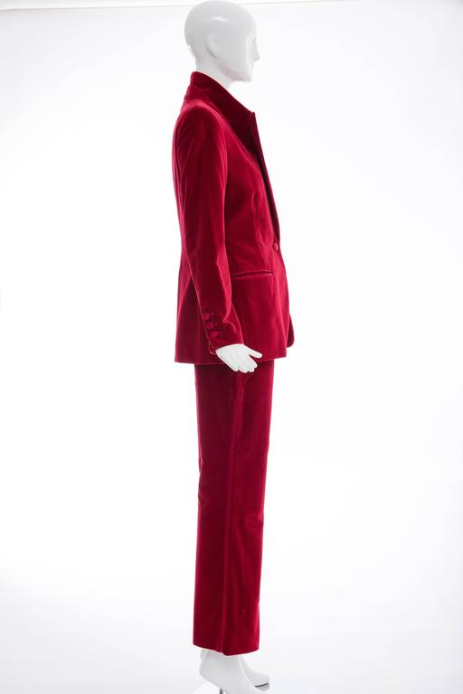 Gucci Tom Ford Red Cotton Velvet Pantsuit, Fall 1996 3