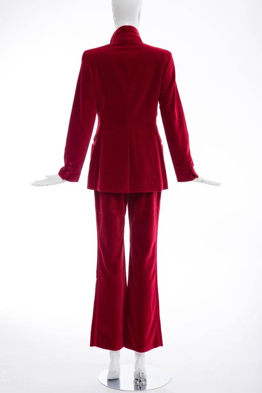 Gucci Tom Ford Red Cotton Velvet Pantsuit, Fall 1996 4