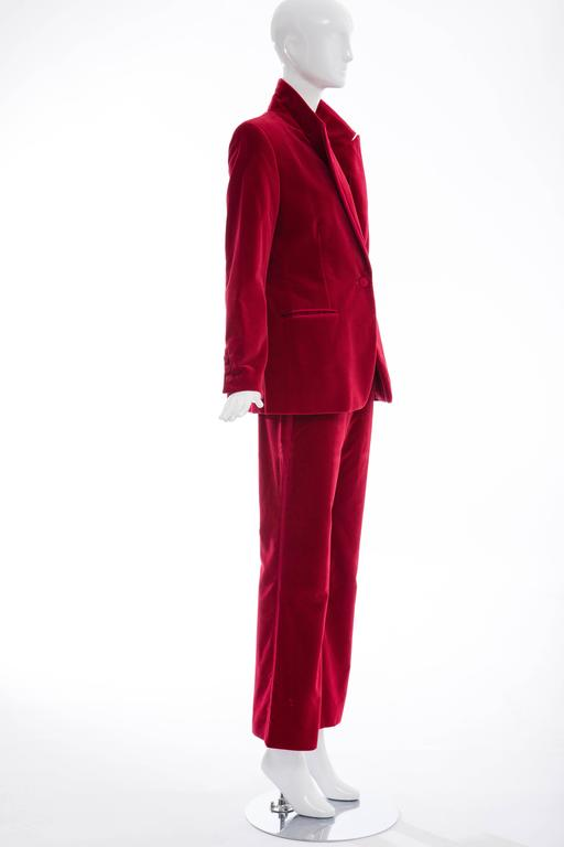 Gucci Tom Ford Red Cotton Velvet Pantsuit, Fall 1996 5
