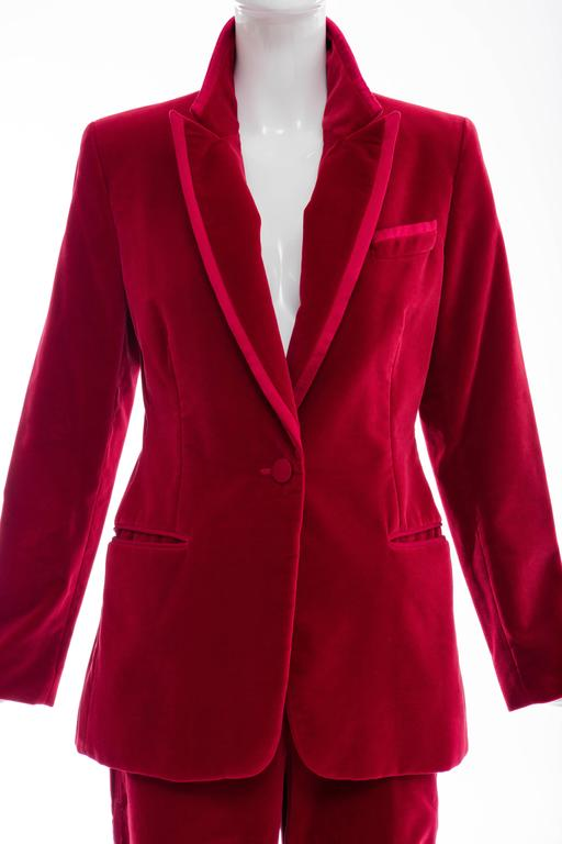 Tom Ford For Gucci Red Cotton Velvet Pantsuit, Autumn - Winter 1996 6