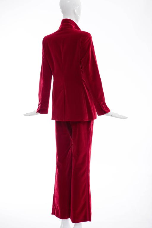 Gucci Tom Ford Red Cotton Velvet Pantsuit, Fall 1996 7