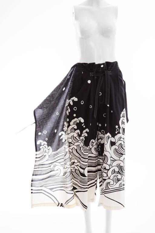 Kansai Yamamoto Black Cream Cotton Linen Printed Wrap Pants, Circa 1980's For Sale 3