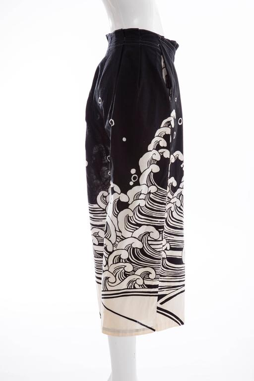 Kansai Yamamoto Black Cream Cotton Linen Printed Wrap Pants, Circa 1980's For Sale 4