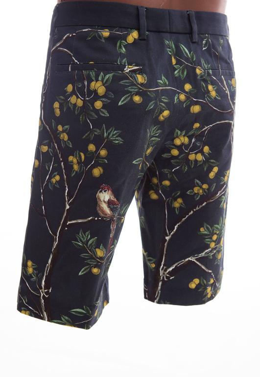 Dolce & Gabbana Men's Black Printed Birds Lemons Cotton Shorts, Spring 2016 5