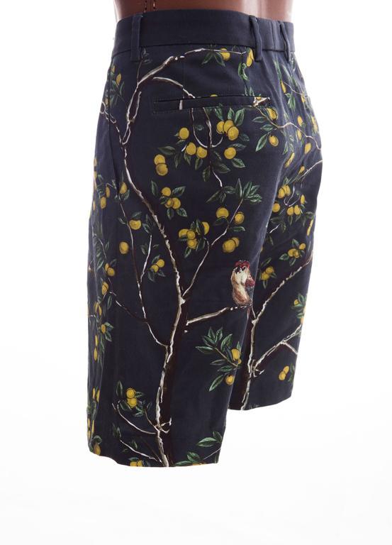Dolce & Gabbana Men's Black Printed Birds Lemons Cotton Shorts, Spring 2016 7