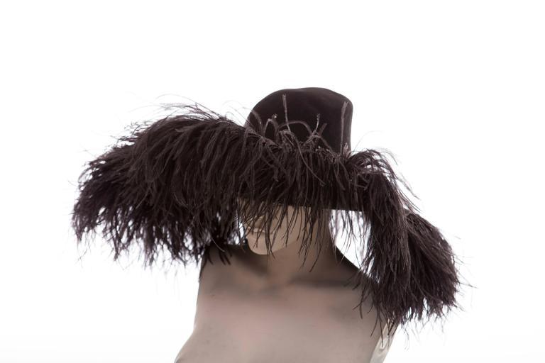 Alber Elbaz Lanvin Runway Black Wool Felt Hat Ostrich Feather Trim, Fall 2014 For Sale 1