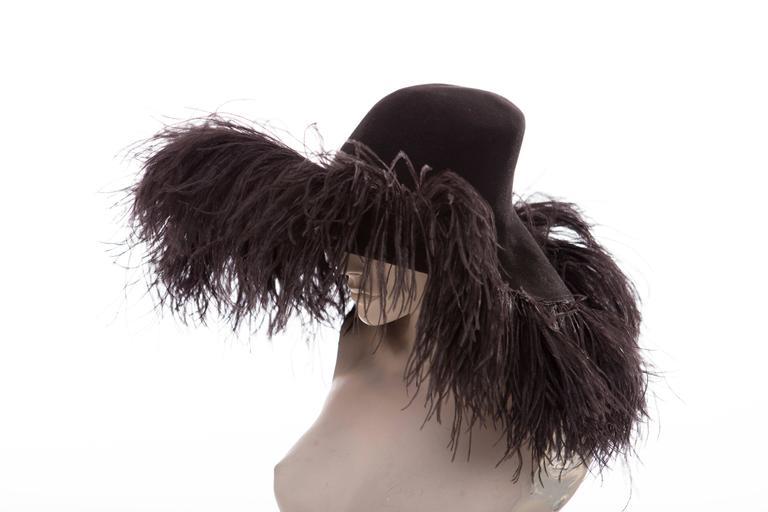 Alber Elbaz Lanvin Runway Black Wool Felt Hat Ostrich Feather Trim, Fall 2014 For Sale 2