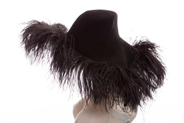 Alber Elbaz Lanvin Runway Black Wool Felt Hat Ostrich Feather Trim, Fall 2014 For Sale 3